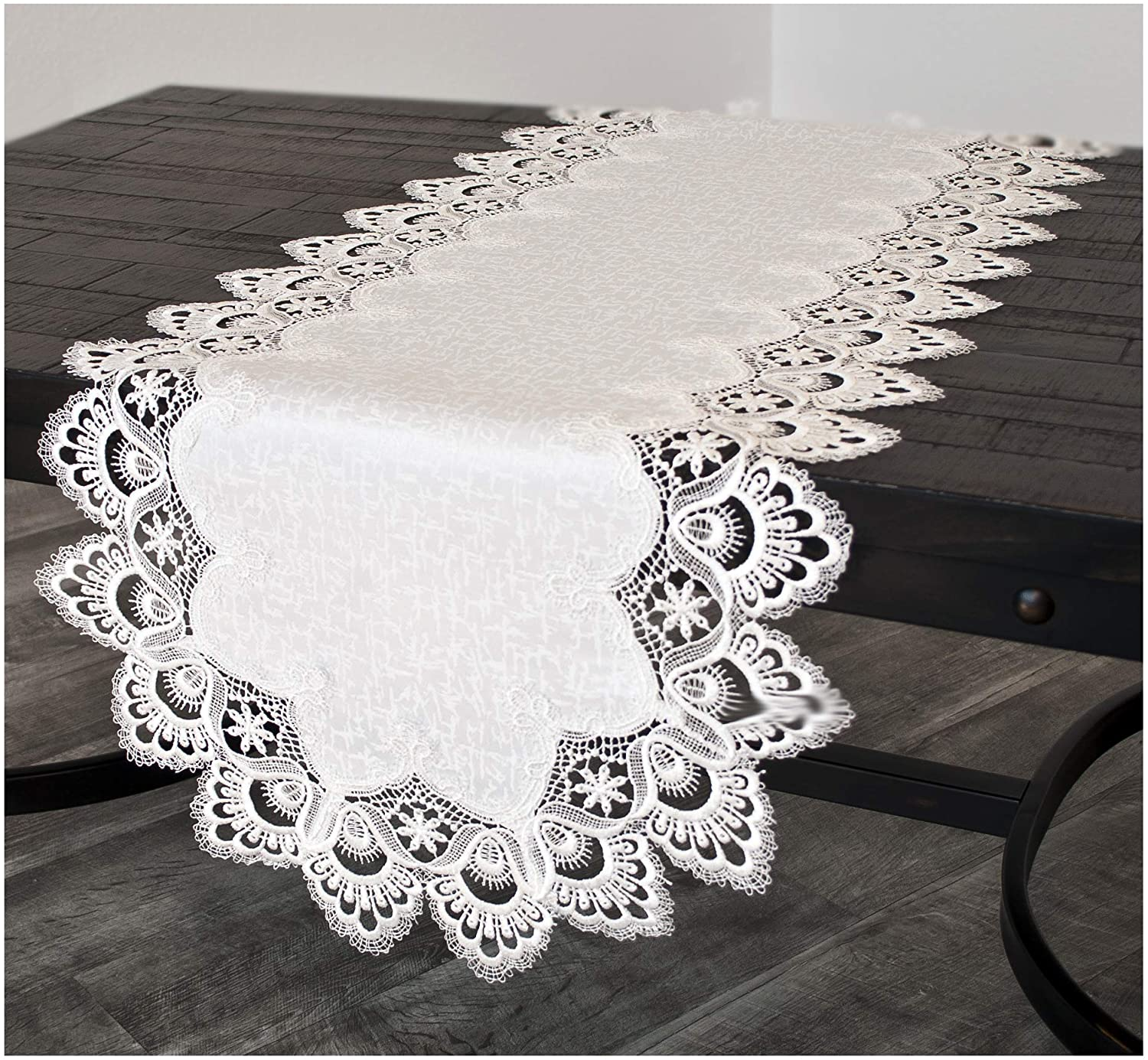 Linens, Art and Things White Jacquard Peacock Tail Lace Dresser Scarf Table Runner Coffee Table Runner, Weddings 16 x 35 Inch Approx