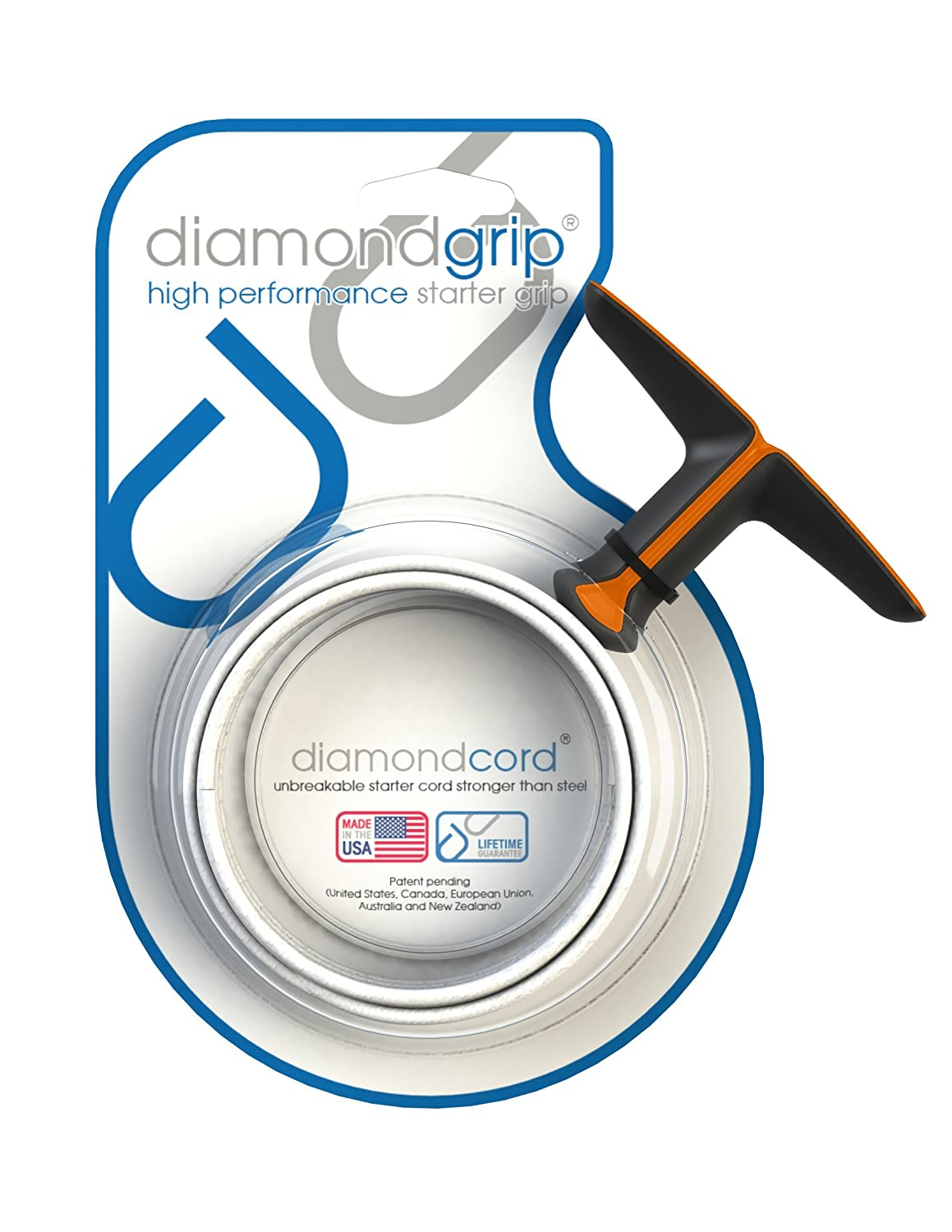 Diamondgrip 40 Inch by 2.8 mm with Small Grip Unbreakable Gas Engine Pull Starter Recoil Replacement Cord with Silver and Black Kit