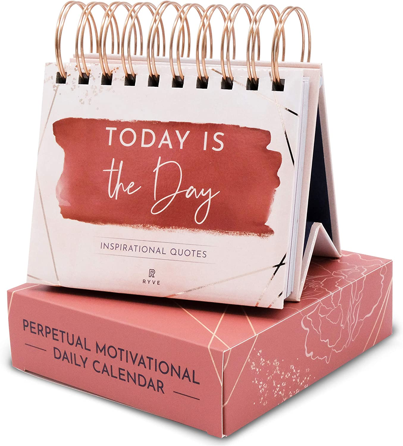 RYVE Motivational Calendar - Daily Flip Calendar with Inspirational Quotes - Inspirational Calendar, Motivational Quotes, Inspirational Desk Decor for Women, Inspirational Office Decor for Women Desk