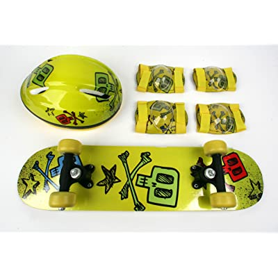 TaoTao Manufacturer Kids Skateboard Combo Pack with Board, Helmet, Knee and Elbow Pads/Yellow Skull Design : Skate And Skateboarding Helmets : Sports & Outdoors