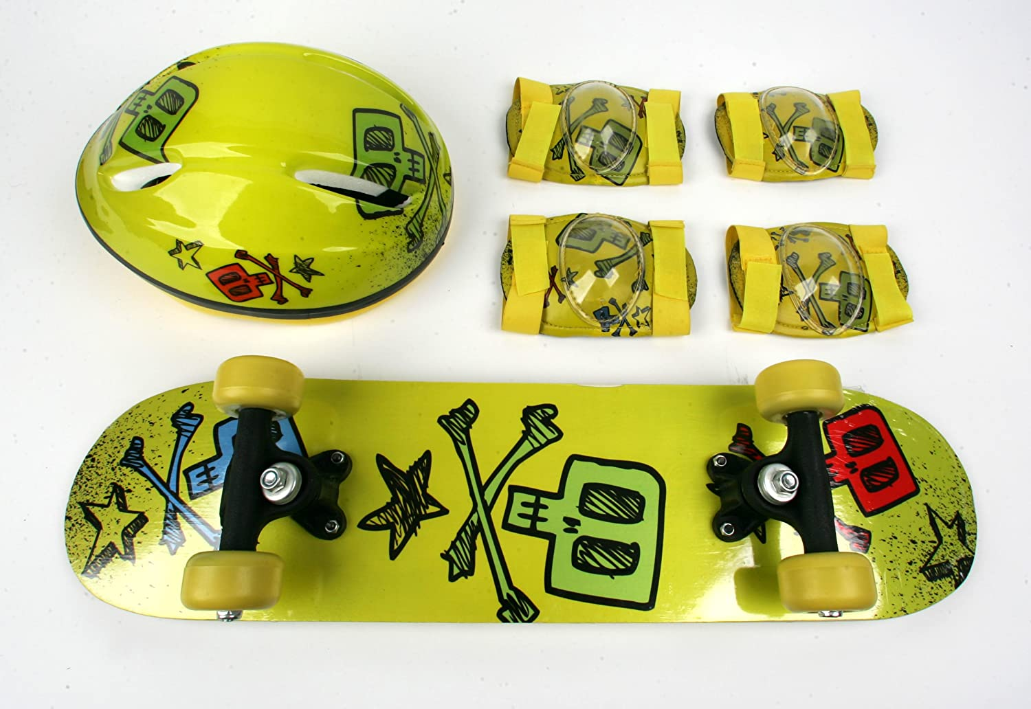 Kids Skateboard Combo Pack with Board, Helmet, Knee and Elbow Pads Yellow Skull design