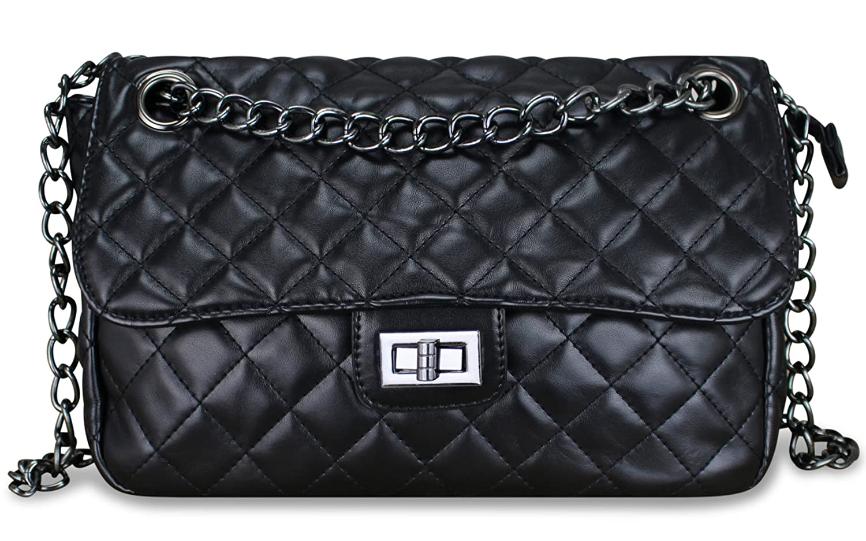 PiriModa Damen Luxus Umhängetasche Gesteppt Handtasche Schultertasche mit Kette Steppenmuster Clutch TOP TREND