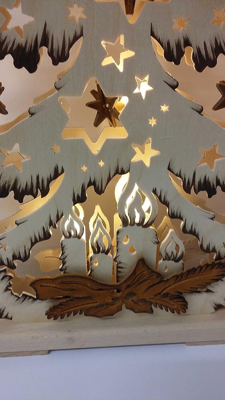 3d Schwibbogen Tanne mit braune Sterne Original Erzgebirge Handarbeit RATAGS Doppelschwibbogen wundersch/öne Dekoration f/ür Weihnachten