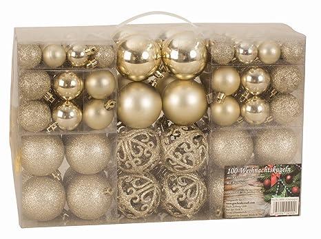 Christbaumkugeln Champagnerfarben.Exklusives Weihnachtskugeln Christbaumkugeln Set Mit 100 Stück Farbe Champagner