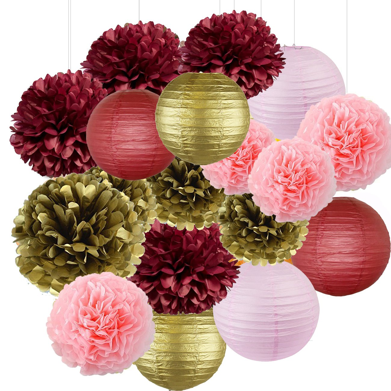 Sogorge Bridal Shower Decorations 18pcs Burgundy Pink Gold Birthday Decorations Tissue Paper Pom Pom and Paper Lanterns Photo Backdrop Wedding/Bachelorette Party Decorations