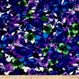Telio Paola Pique Double Knit Green/Purple Abstract Rose Fabric By The Yard