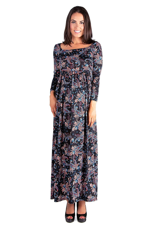 dd625459925 ... 24seven Comfort Apparel Womens Maternity Long Sleeve Empire Waist  Square Neckline Maxi Dress - Made in ...