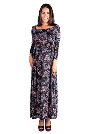 fef74f5ce8b4 24seven Comfort Apparel Maternity Clothes for Women Paisley Long Sleeve  Pleated Maxi Dress - Made in