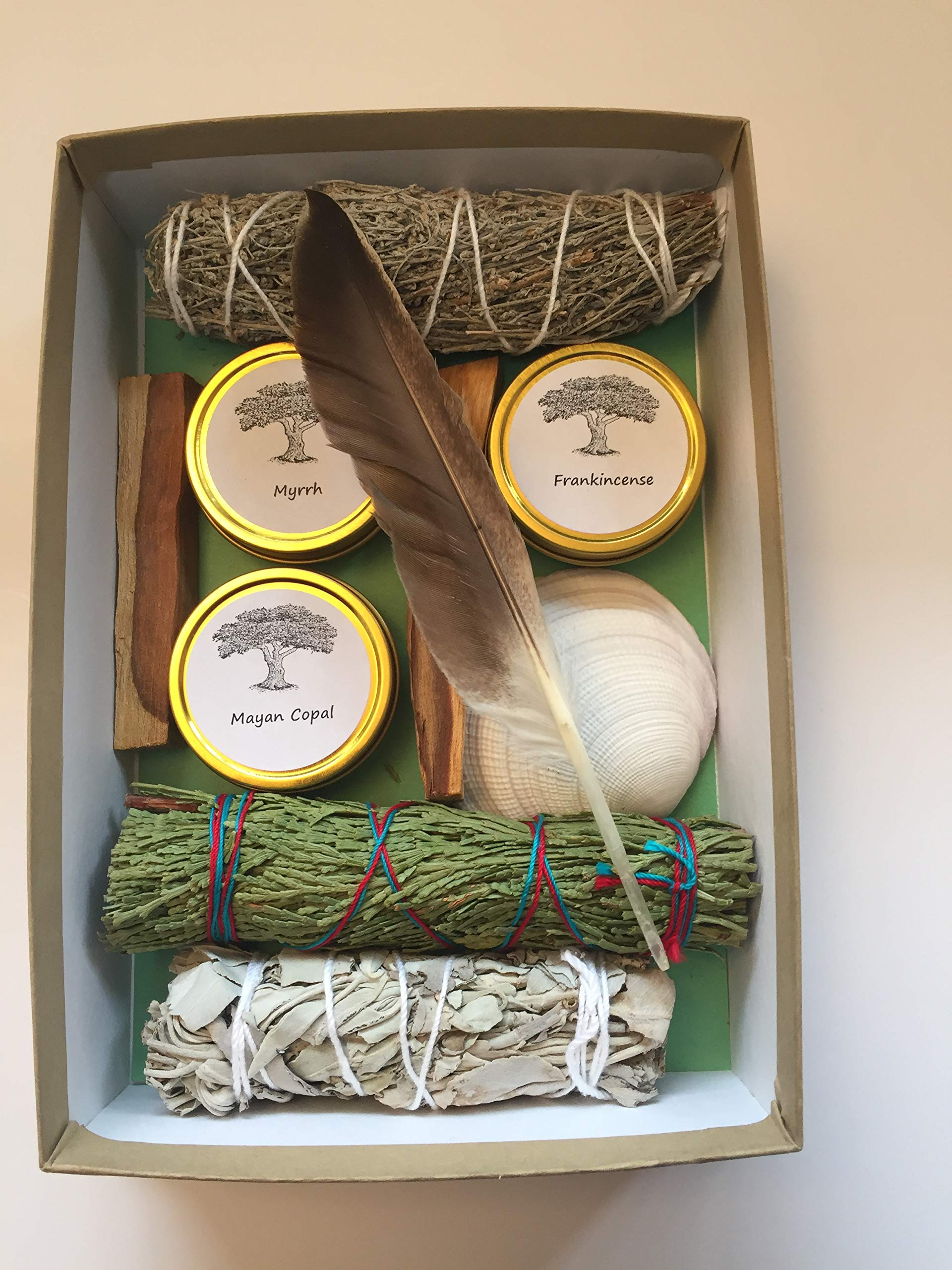 Sacred Scents For You Resin Incense and Sage Smudges Variety Gift Set Includes: Blue Sage, Cedar, White Sage & Palo Santo Wood. Frankincense, Myrrh & Mayan Copal Resins by Sacred Scents For You (Image #2)
