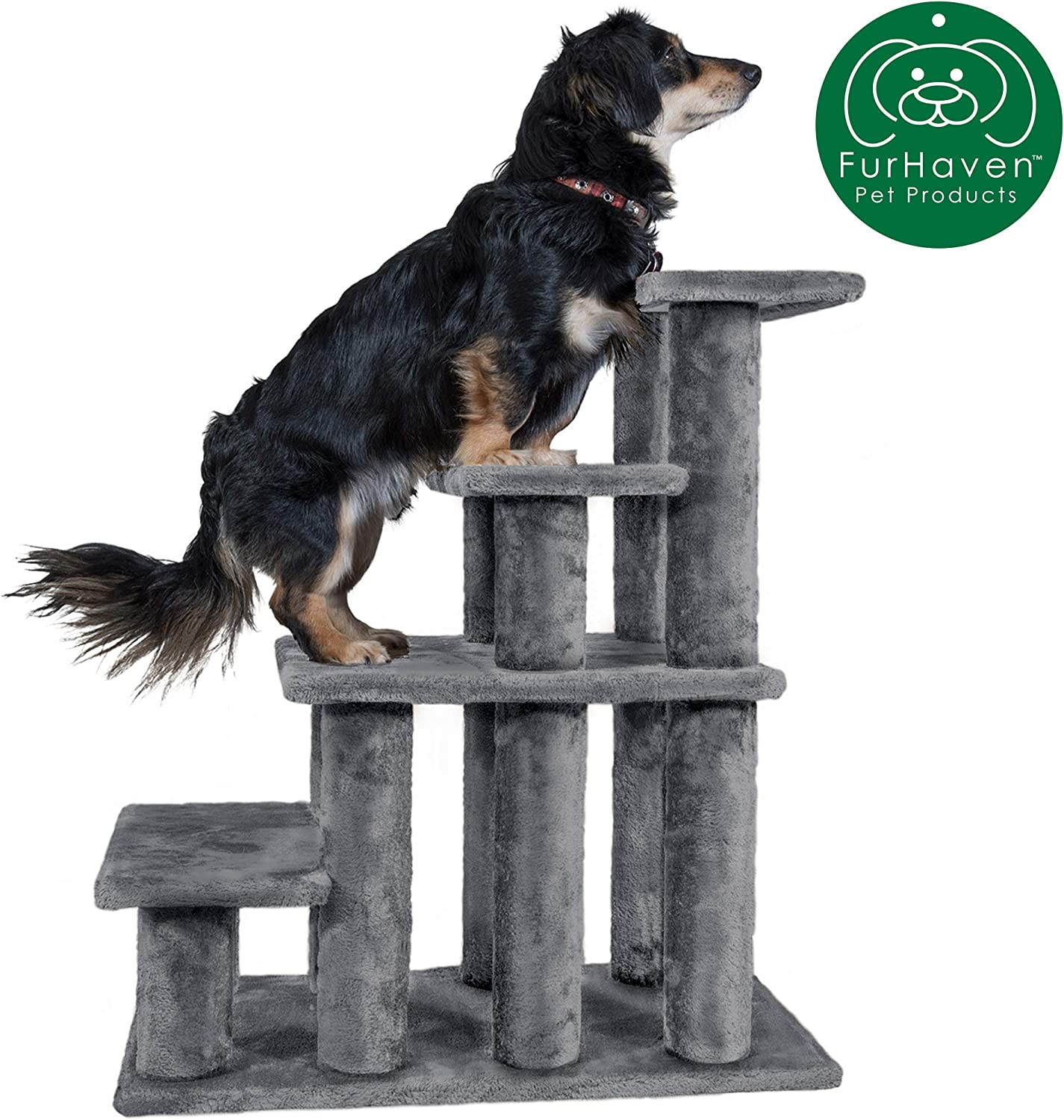 Furhaven Pet Stairs   Steady Paws Easy Multi-Step Furniture Pet Stairs Assist Ramp for Dogs & Cats - Available in Multiple Colors & Sizes