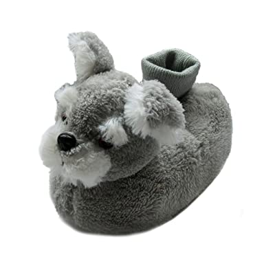 Friendly House Fuzzy Schnauzer Dog Slippers for Toddler Kid