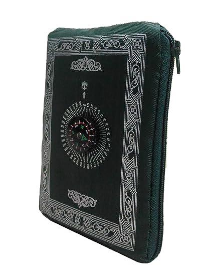 Clarastar Pocket Prayer Mat Portable,Travel Friendly With Compass. Light Thin Muslim/Islamic Janamaz With Qibla Finder (Dark Green)