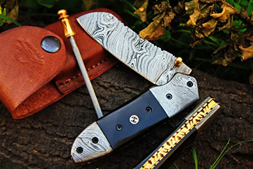 DKC Knives 9 5 18 Sale DKC-57-X Black Hornet Damascus Folding Pocket Knife 4.5 Folded 7.5 Open 3 Blade 7.5 oz Damascus Steel