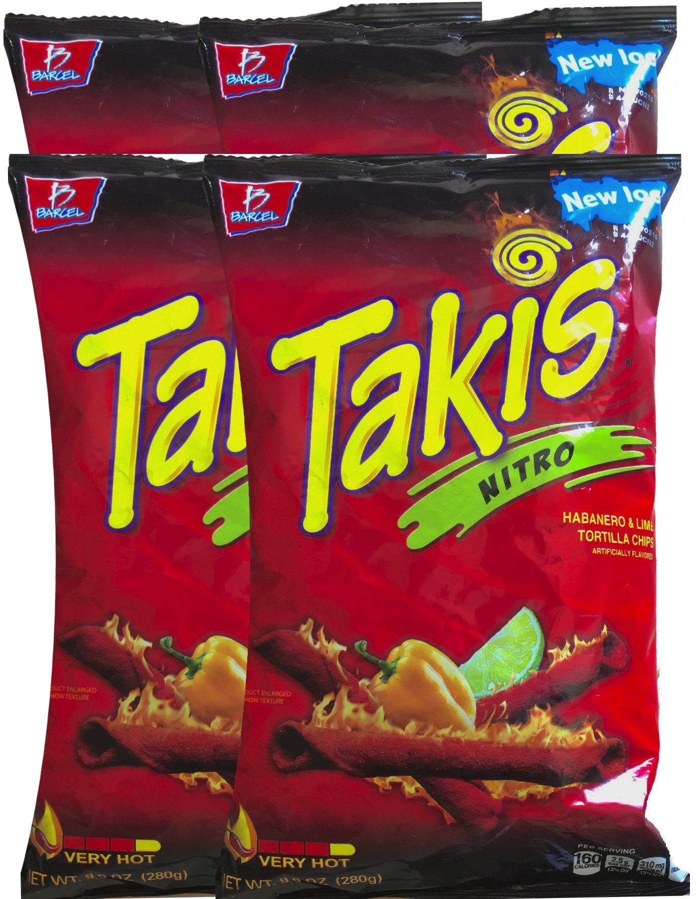 Barcel Takis Nitro Habanero & Lime Tortilla Chips Snack Care Package for College, Military, Sports 9.9 oz bag (4)