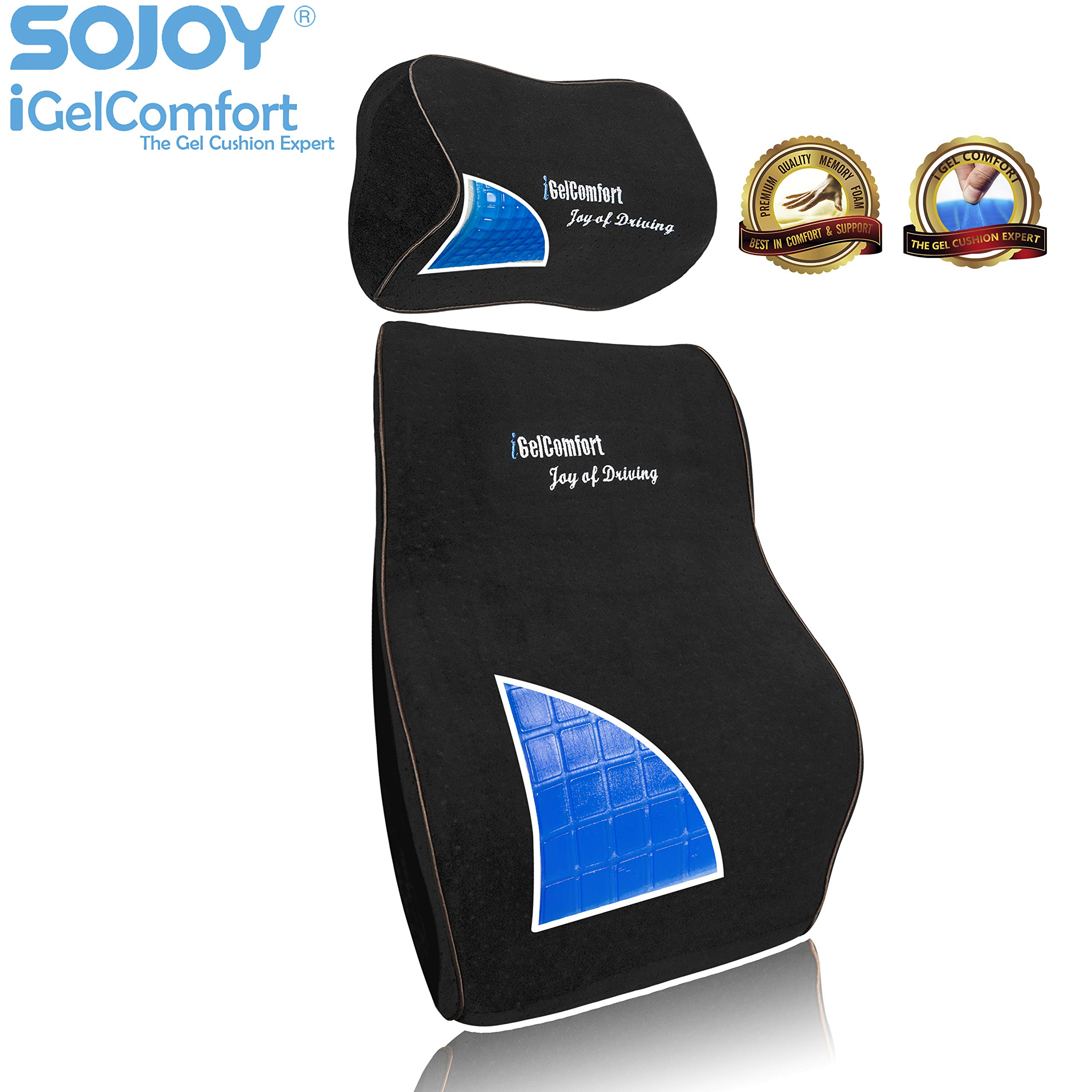 Sojoy iGelComfort Enhanced Multi-Use (Car/Truck/Office/Home/Outside) Gel Seat Cushion with Memory Foam (Black) (19x15x5)