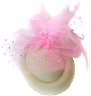 Caprilite Fashion Ivory Cream   Pink Baby Pill Box Hat Fascinator Hatinator  Clip Ascot Races Weddings 9153231ac889