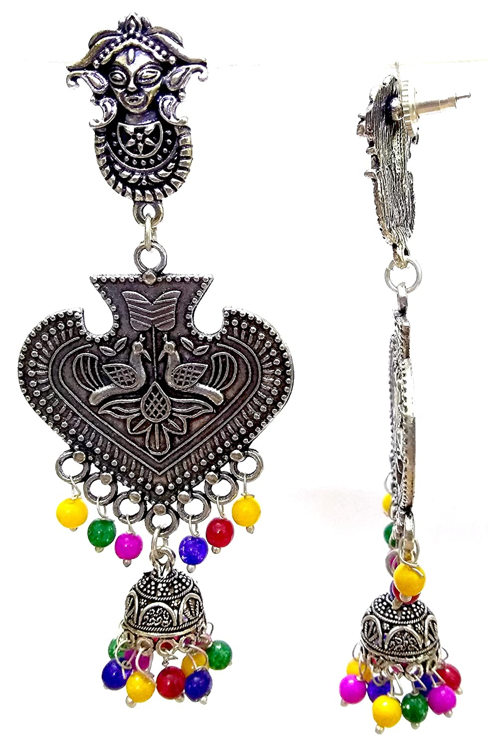 DESI HAWKER Silver Oxidized Earring Bali Jhumki Jhumka Jewelry Bollywood Drop Dangle Chandelier Peacock Tribal NI-164