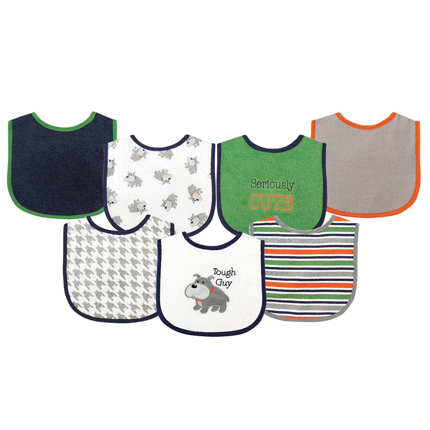 Luvable Friends Unisex Baby Cotton Terry Drooler Bibs with PEVA Back, Dog, One Size