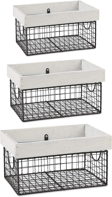 DII Farmhouse Wood Rimmed Wire Storage Basket Set, Antique White, 3 Piece
