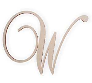 Jess and Jessica Wooden Letter W, Wooden Monogram Wall Hanging, Large Wooden Letters, Cursive Wood Letter