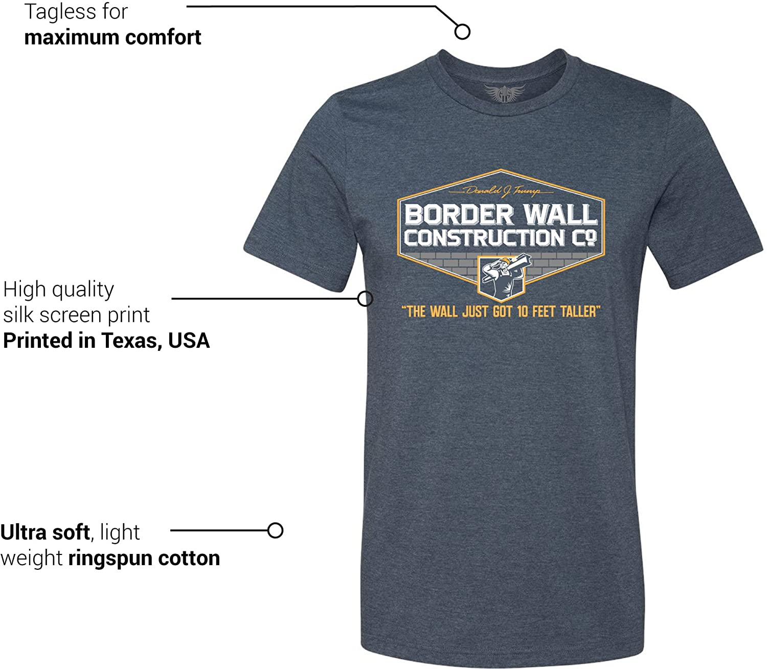 e01e2ccfa Amazon.com: GunShowTees Men's Donald Trump Border Wall Construction Company  T-Shirt: Clothing