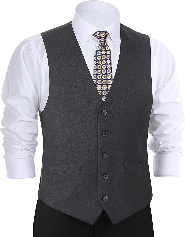CHAMA Men's Formal Classic Fit Business Dress Suit Button Down Vest Waistcoat(34 Regular,Dark Grey)