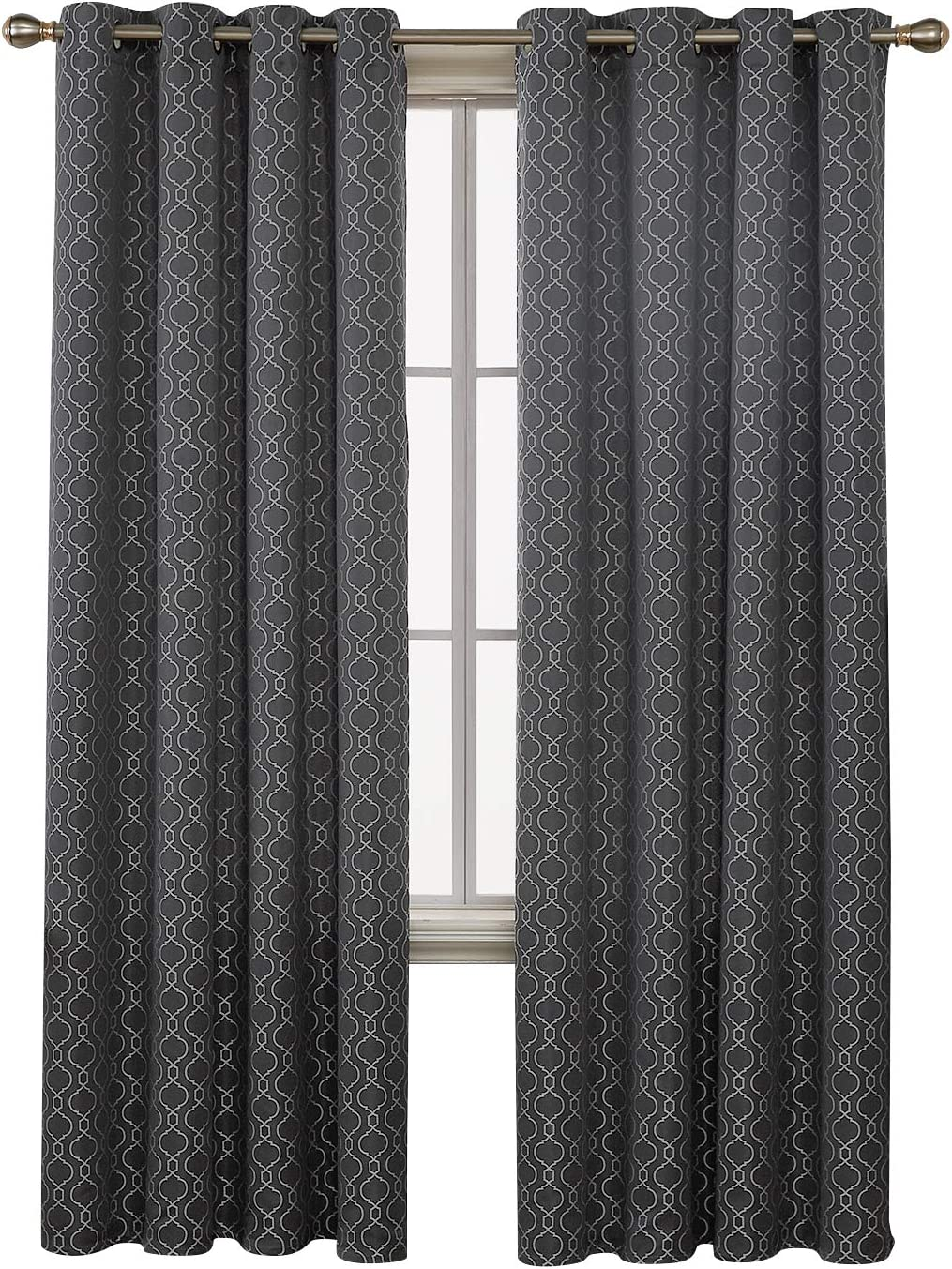 Deconovo Decorative Room Darkening Curtains Textured Moroccan Jacquard Curtains for Bedroom 52x95 Dark Grey Set of 2