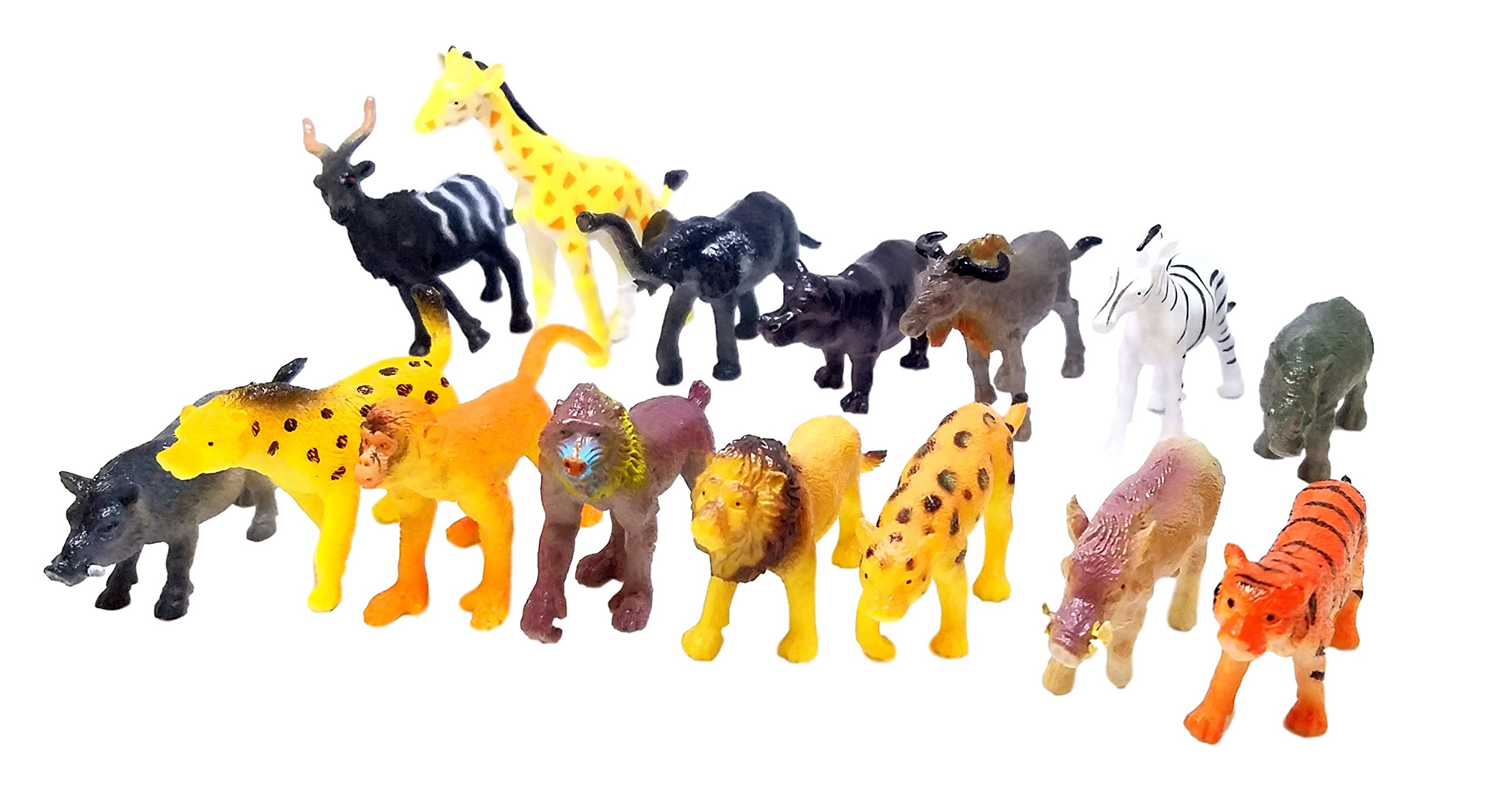Mini African Safari Jungle Animals Play Set, Assorted Creatures, 30 ct (2 sets of 15)- Kids Miniature Party Favors, Bag Stuffer, Pinata Filler, Gift, Prize, Educational Counting & Sensory Toys