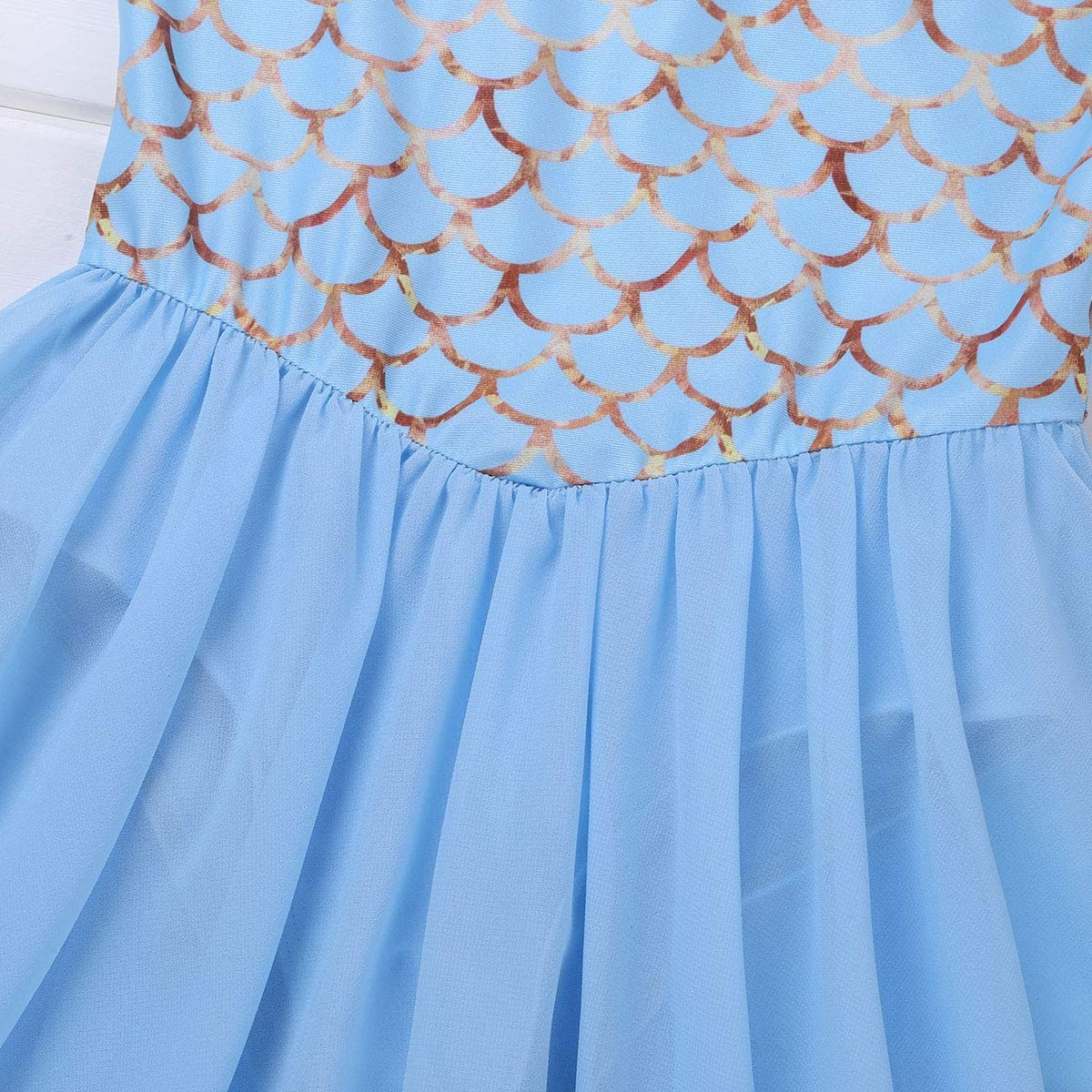 dPois Kids Girls Sequined Mermaid Leotard Dress Ballet Dance Gymnastics Tutu Princess Fancy Party Dancing Costumes