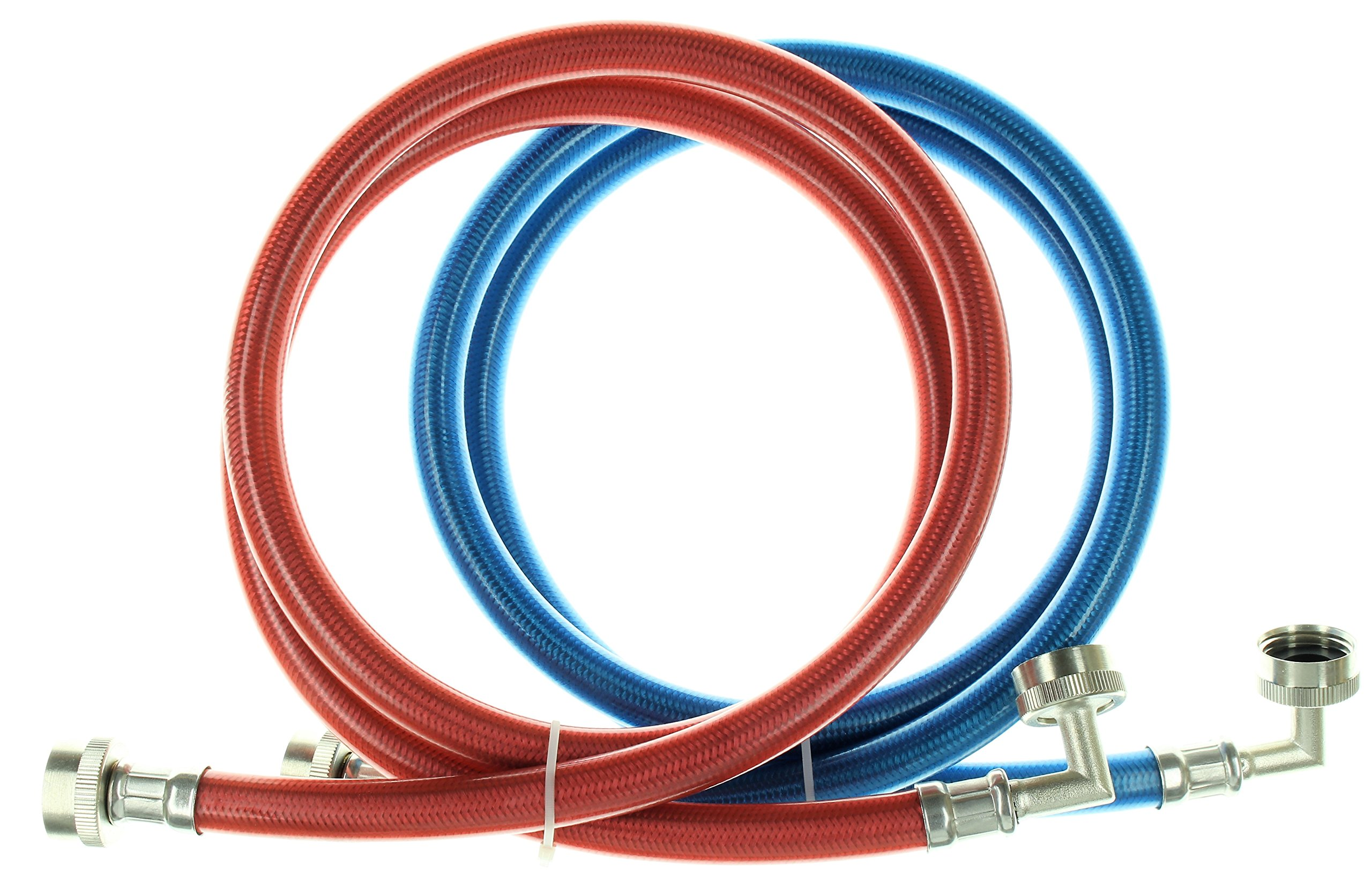 Triple Layer Stainless Steel Washing Machine Hoses with 90 Degree Elbow, 5 Ft Burst Proof (2 Pack) Red and Blue Color Coded Water Connection Supply Lines