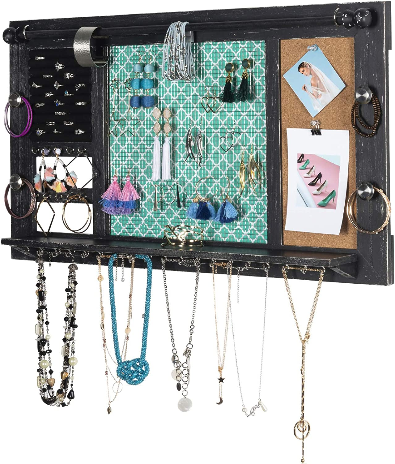 "Large Rustic Wall Mounted Jewelry Organizer: 28""x16"" Shabby Chic Jewelry Box Alternative Hanging Jewelry Organizer for Earings Necklaces Bracelets Accessories Bangles and Ring Holder (Black)"