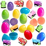 12 Prefilled 2.25-Inch Easter Eggs With Car Toys - Various Designs and Colors - Great Alternative To Candy - Tough Toys and Durable Eggs - Miniature Fun - Perfect For a Hassle-Free Easter Hunt