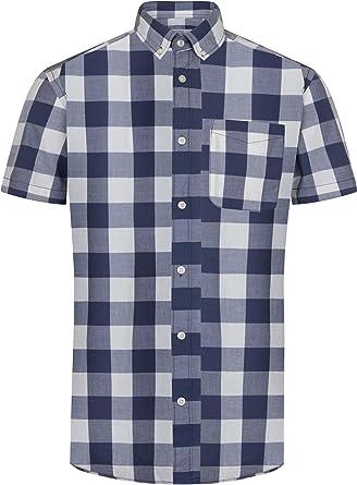 JACK & JONES - Camisa casual - con botones - Cuadrados - con botones - Manga corta - para hombre: Amazon.es: Ropa y accesorios