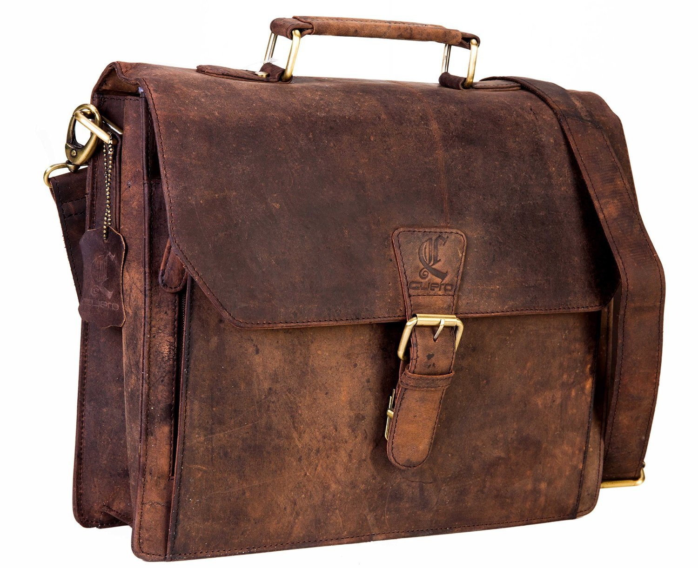 cuero 14'' Leather Office Bag Vintage Leather Messenger Satchel Briefcase Bag for Men's and Women Leather Laptop Macbook Bag