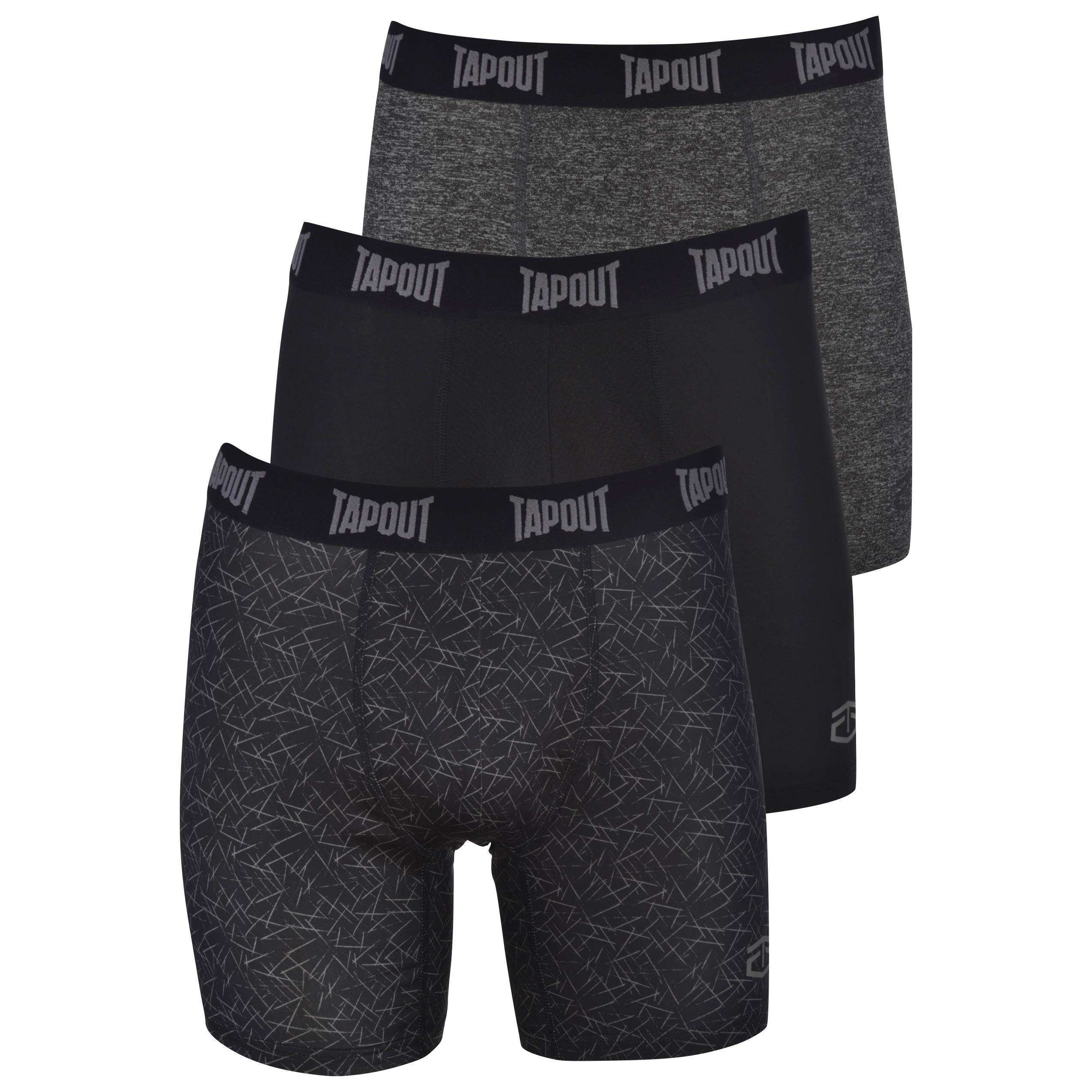 TapouT Mens Performance Boxer Briefs - 3-Pack Stretch Performance Training Underwear Breathable Athletic Fit No Fly by TapouT