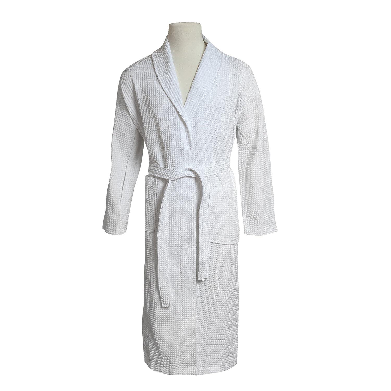 STAR Lightweight Unisex Waffle Weave Spa Robe Bathrobe 100% Cotton (White 9157372c3