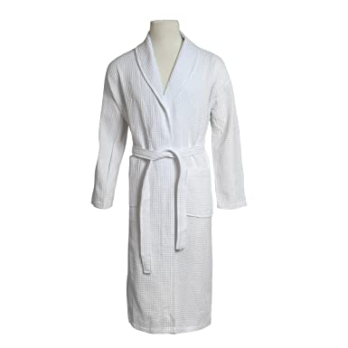161e3e549d Image Unavailable. Image not available for. Color  STAR Lightweight Unisex  Waffle Weave Spa Robe Bathrobe 100% Cotton (White ...