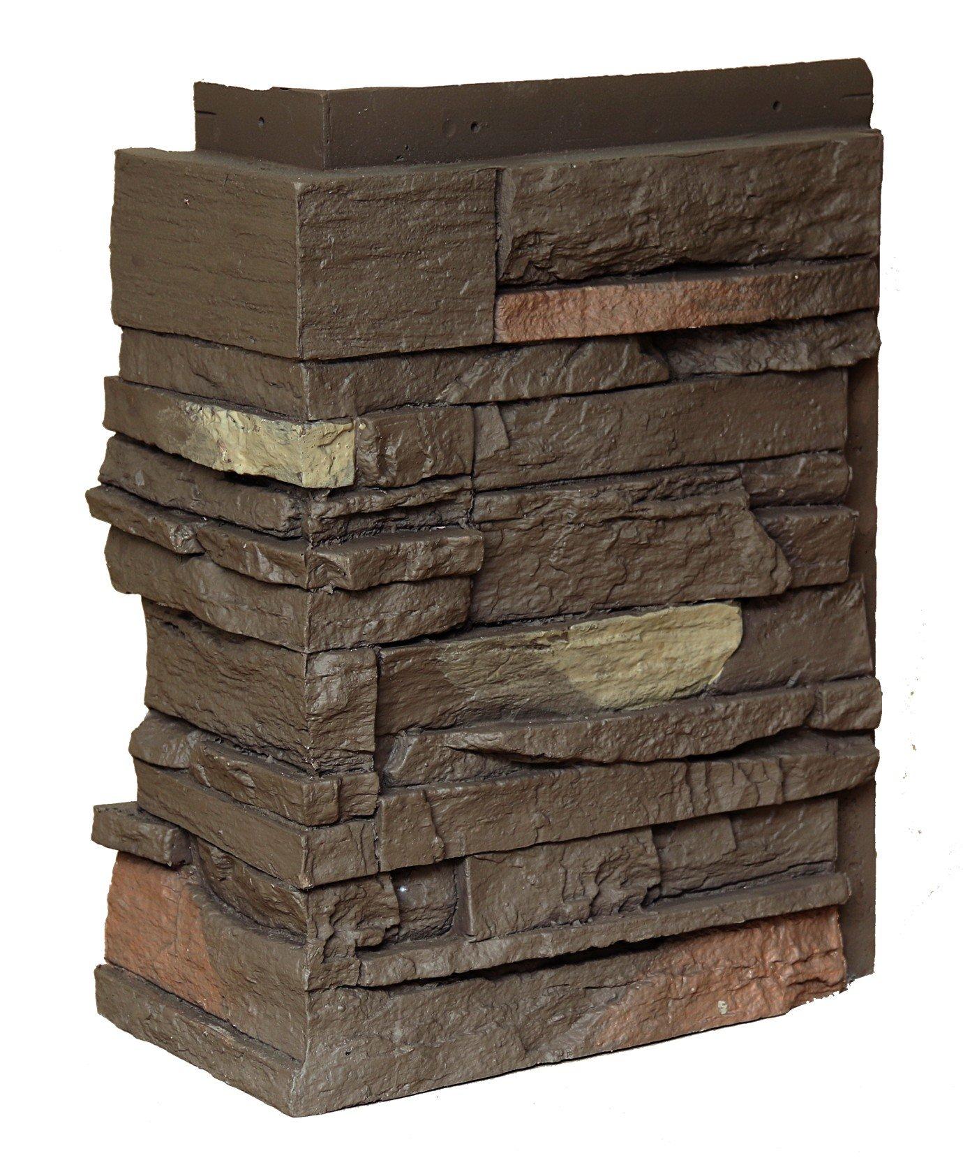 NextStone Country Ledgestone Faux Polyurethane Stone Outside Corner - Himalayan Brown - 4 Pack by NextStone