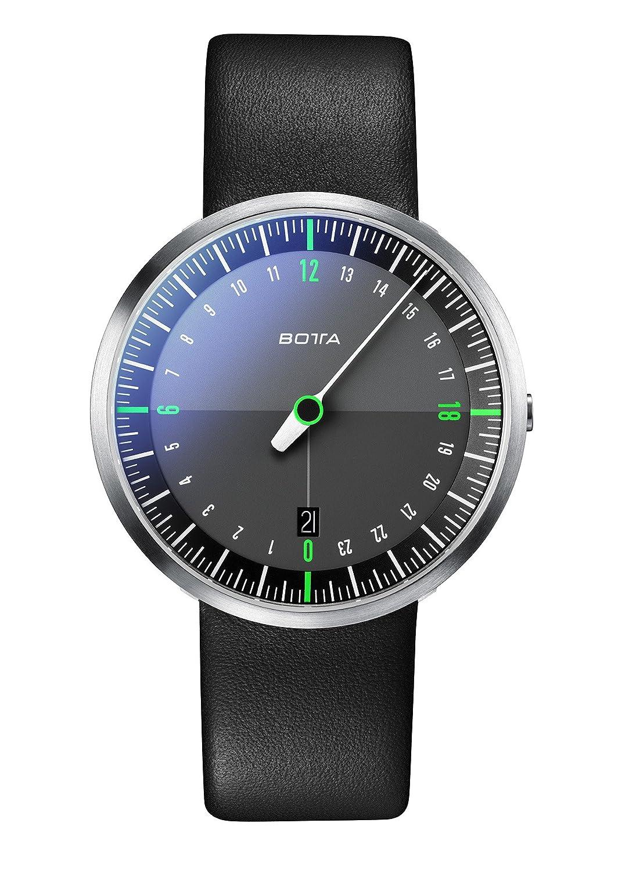 Botta-Design UNO 24 NEO Armbanduhr - schwarz - 24H Einzeigeruhr - Edelstahl - Saphirglas Antireflex - Lederband