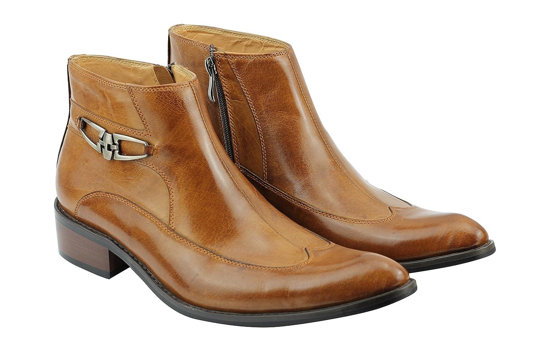 6478545af720 Mens Tan Leather Vintage Zip up Italian Ankle Boots Smart Formal Slip on  Shoes   Brown