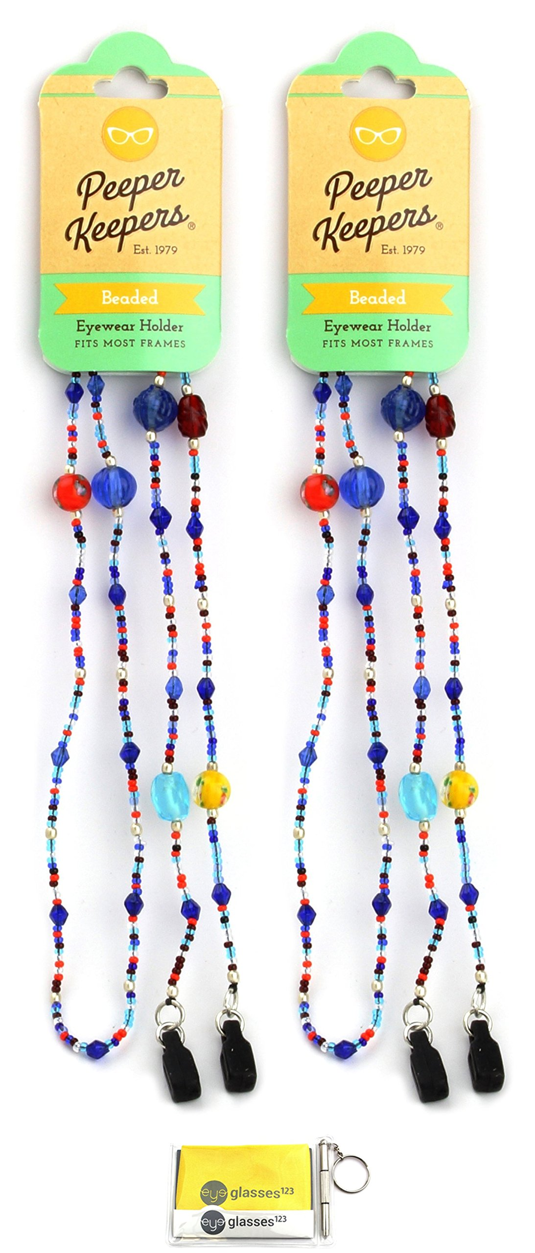 Eyeglass Retainer & Sunglass Holder By Peeper Keepers Glass Beads, Mixed Jewel, 2pk | w/Microfiber Cloth & Screwdriver