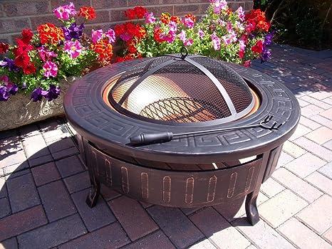 Ambienceoutdoors Round Patio Fire Pit Decking Firepit Garden Heater Table Brazier Amazon Co Uk Garden Outdoors
