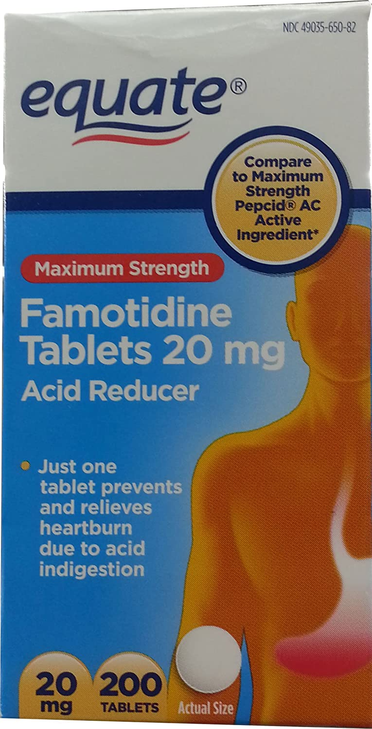 Equate Maximum Strength Acid Reducer Famotidine Tablets, 20 Milligram (200 Count)