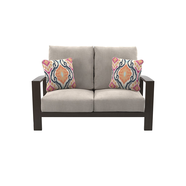 Amazon com ashley furniture signature design cordova reef outdoor loveseat with cushion ladderback design dark brown garden outdoor