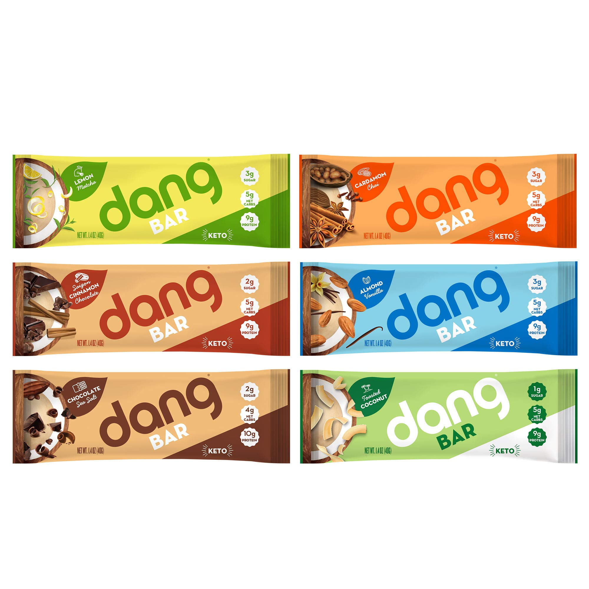 NEW! Dang Bar- KETO CERTIFIED, Low Carb, Plant Based, Gluten Free, Real Food Snack Bar, 1-3g Sugar, 4-5g Net Carbs, No Sugar Alcohols or Artificial Sweeteners, 12 Count (6 Flavor Variety Pack) by DANG (Image #2)