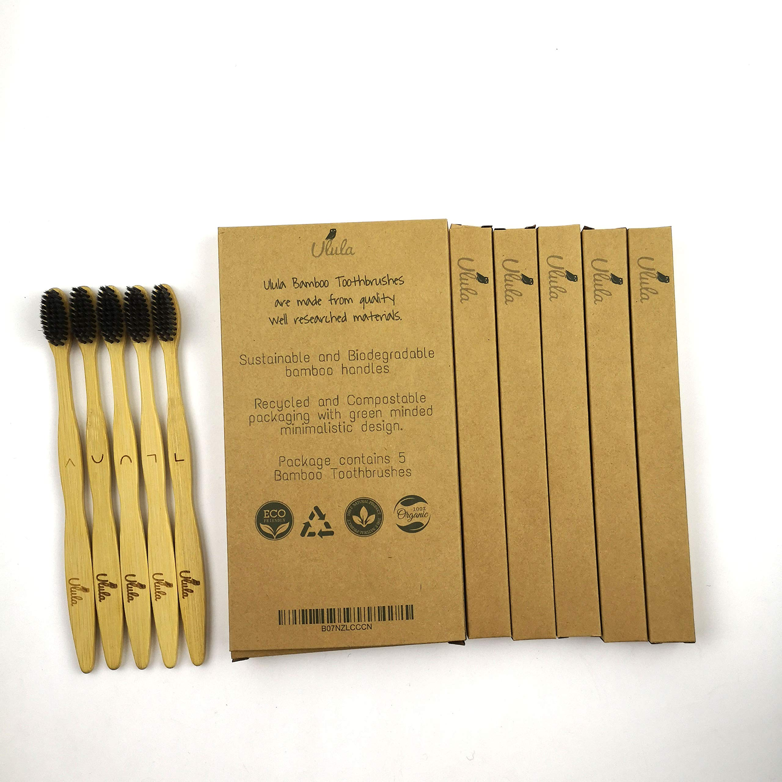 Ulula- our Best Charcoal Biodegradable Bamboo Toothbrush, Organic Eco-Friendly Bamboo with Ergonomic Handles & 100% BPA free|5 Pack (Charcoal)