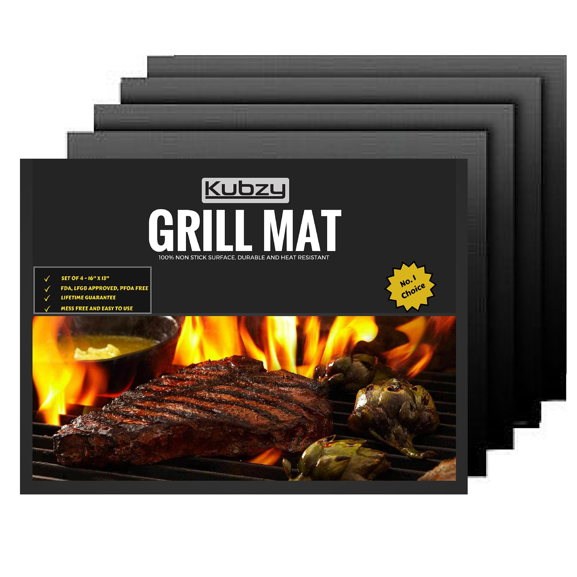 Kubzy BBQ Grill Mat Set of 4 16'' x 13'' Non-Stick, Durable, Heat Resistant - Perfect for Barbecue, Grilling, Oven, Cooking, and Baking by Kubzy Grill Mat (Image #1)