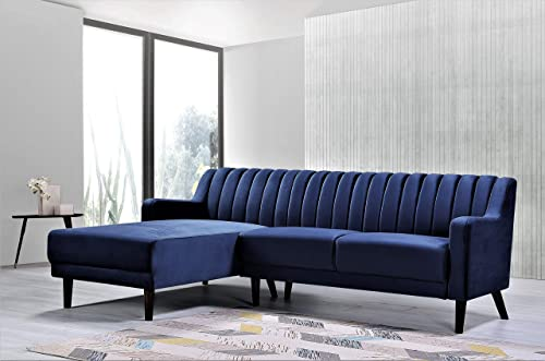 Container Furniture Direct Liberty Mid Century Velvet Upholstered Left Facing Sleeper Sectional