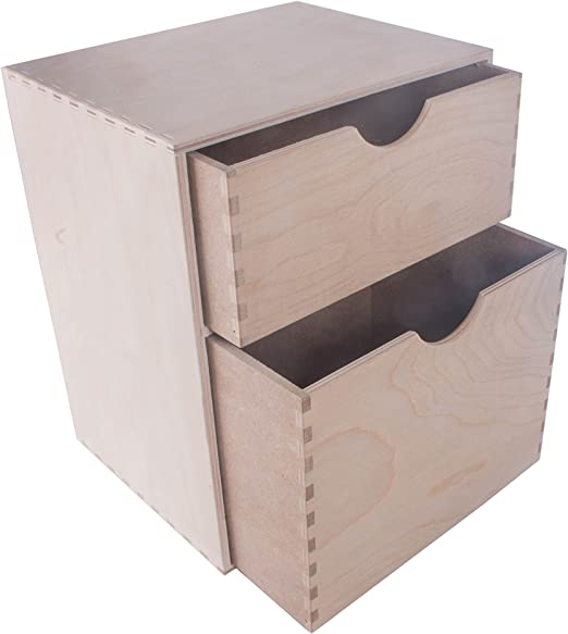 SEARCH BOX Caja de Almacenamiento pequeña de Madera para Armario/Unidad de 2 cajones/Organizador de Escritorio / 25 x 20 x 31 cm: Amazon.es: Hogar