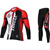 Asvert Men's Cycling Clothing Set Spring Autumn Breathable Quick-dry Sportswear Suit Men and Women Cycling Jersey Road Mountain Bike Riding Outdoor Full Zip Long Sleeve Tops and Pants,Neutral M-3XL